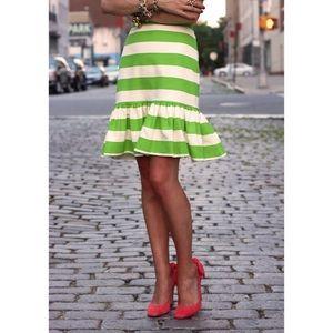 Kate Spade Green Stripe Senorita Flounce Hem Skirt